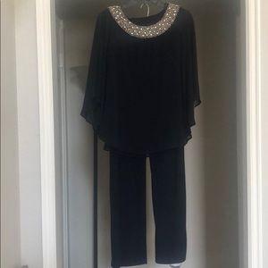 R & M Richards Navy Beaded Neck Pant Set Size 8P